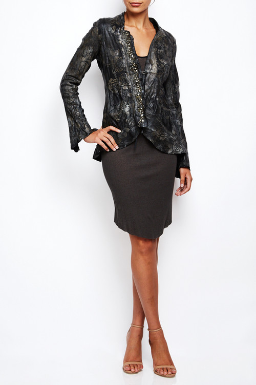 Le Cuir Perdu Embellished Distressed Leather Jacket 2