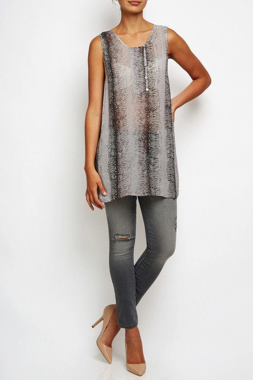 Transit Par Such Tunic Blouse Gray White