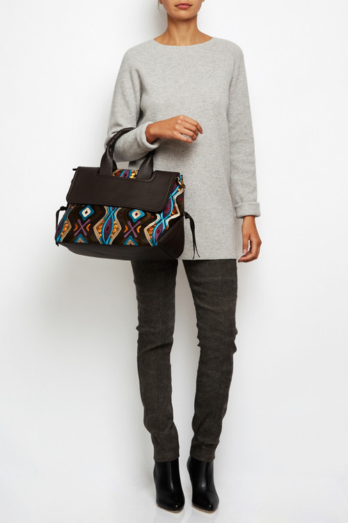 Embroidered Leather Satchel