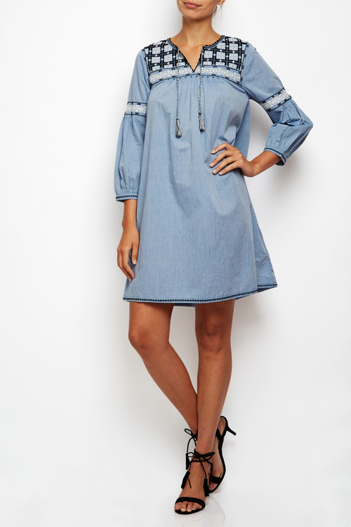 Chambray Hand Embroidered Dress