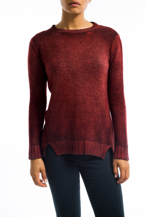 Easy Cashmere Split Vent Sweater Red