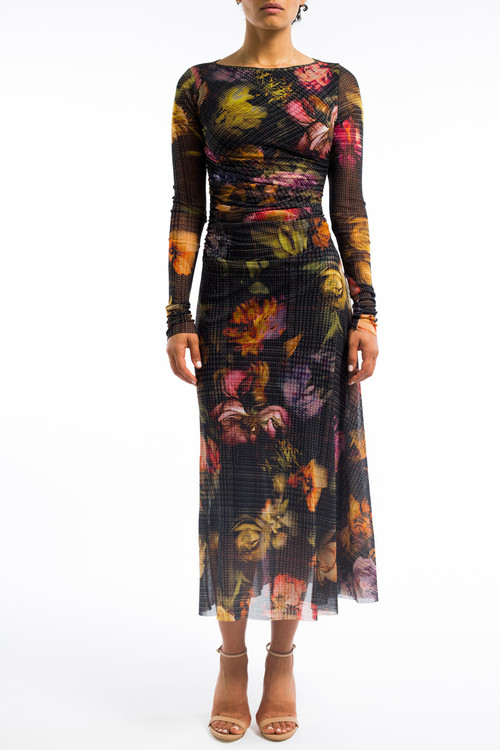 Long Floral Drape Dress