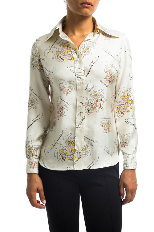 Silk Peace Button Down