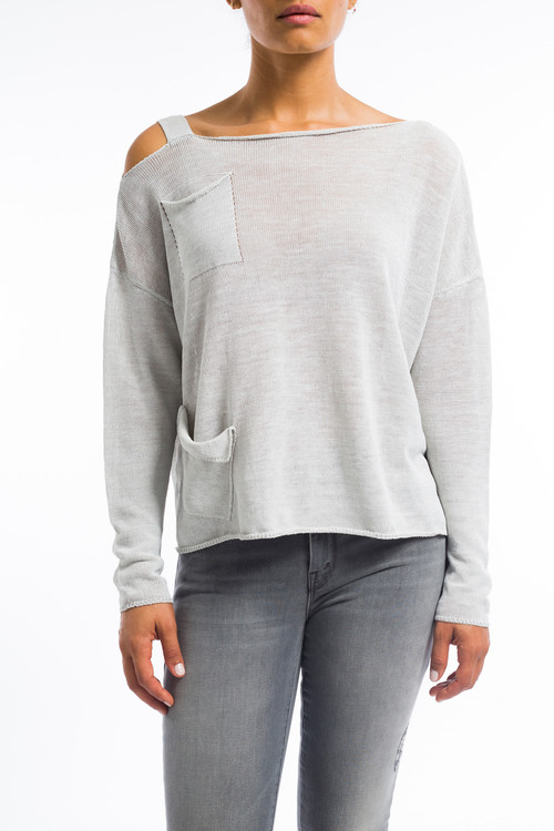 Light Gray Linen Sweater with Pocket