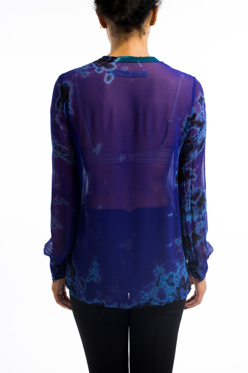 Silk Chiffon Henley Blouse Deep Purple