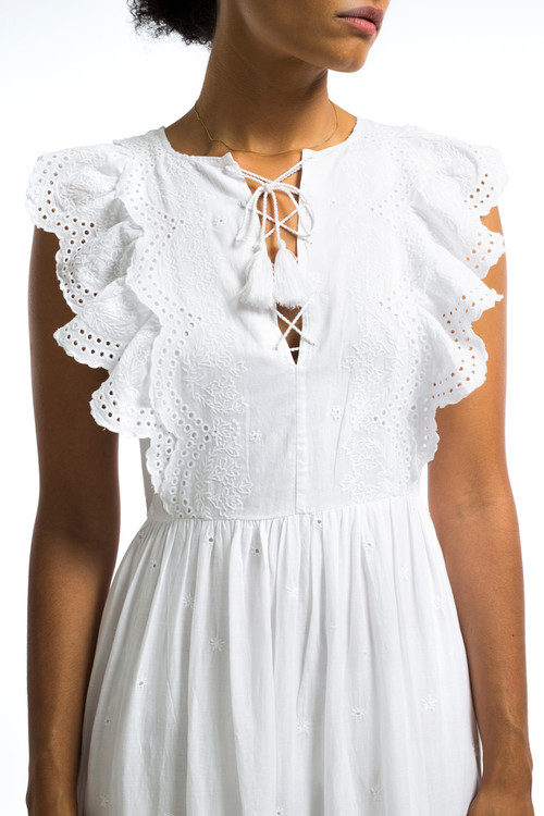 Long Cotton Eyelet Dress