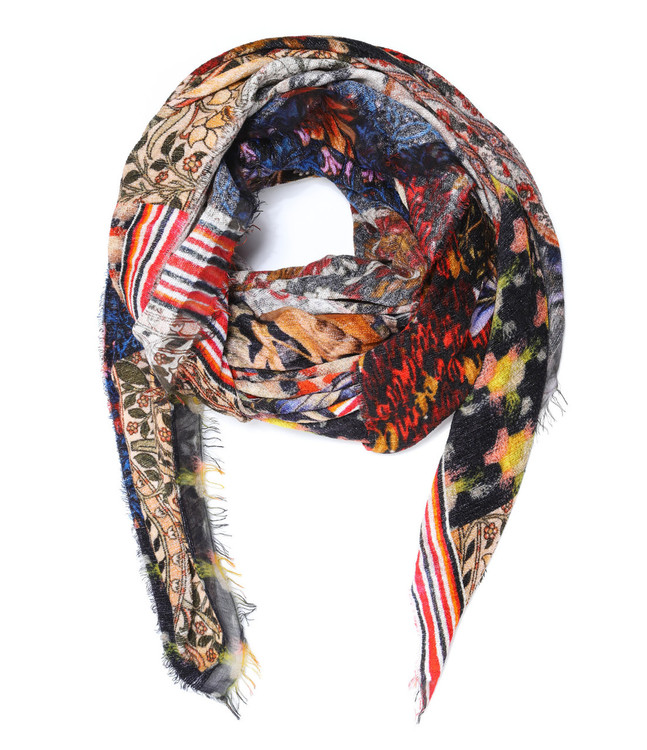 Sarti multi collage velour scarf with fringe