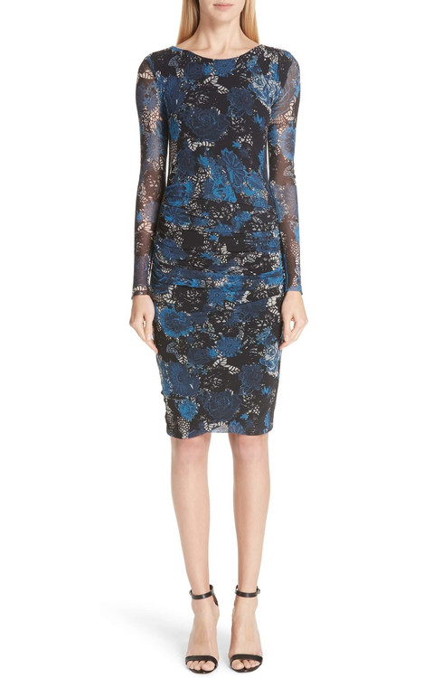 Fuzzi navy and black lace fitted dress