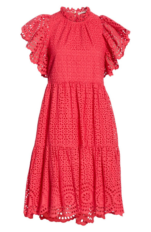 Ulla Johnson cotton eyelet Nora dress pink