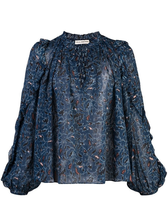 Ulla Johnson silk floral print long sleeve blouse
