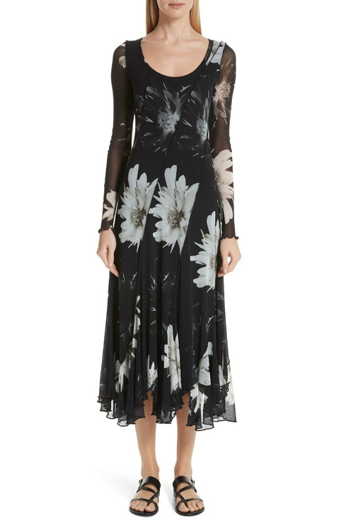 Fuzzi long scoop neck dress black and white flower