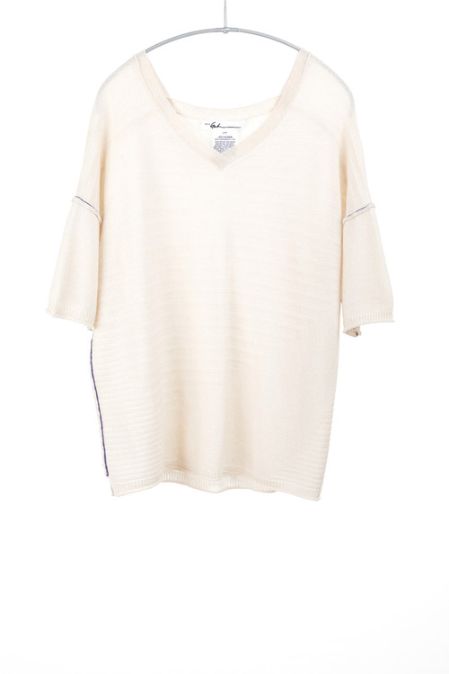 Paychi cashmere v neck short sleeve sweater- creme