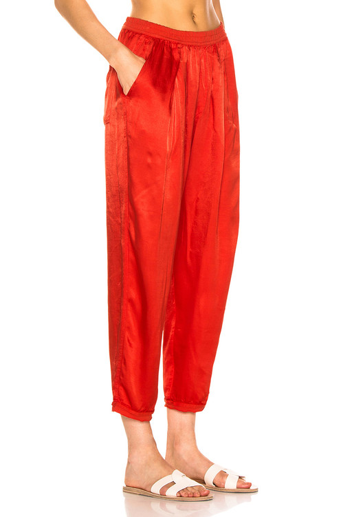 Raquel Allegra easy satin pant red