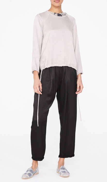 Raquel Allegra satin sweatshirt adjustable ties