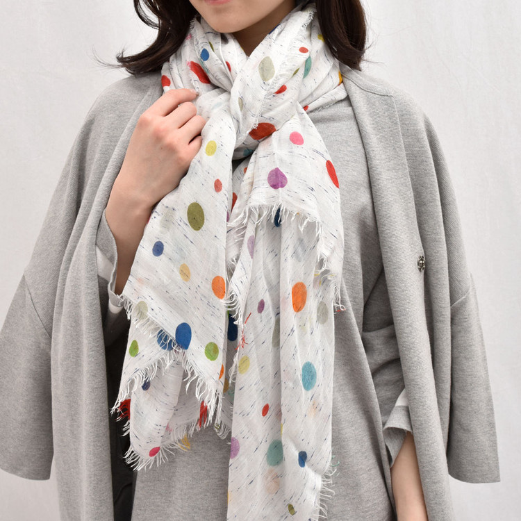 Sarti light blue multi colored polka dot scarf