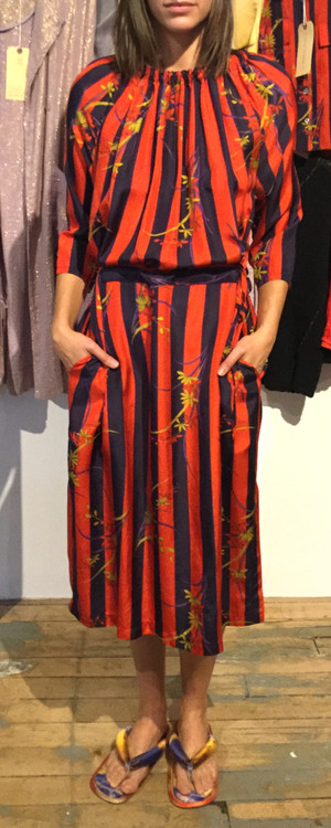Raquel Allegra red silk stripe floral dress