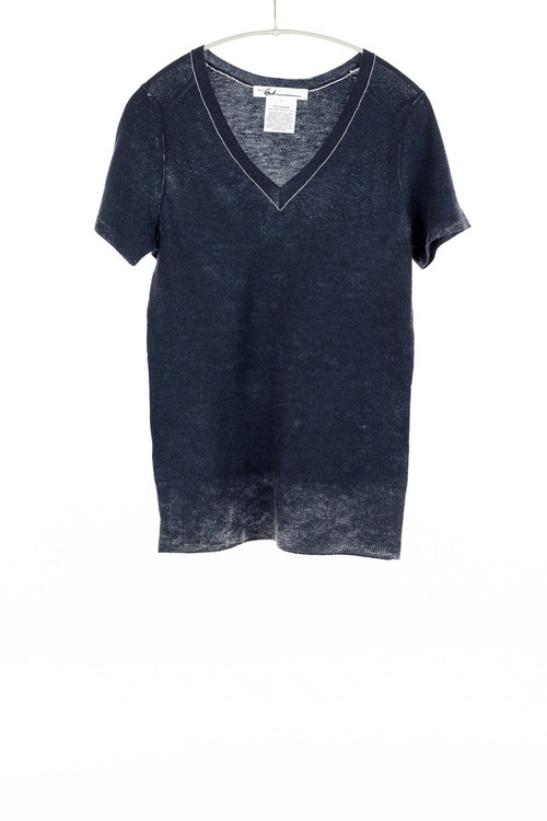 Paychi v neck slim cashmere sweater- deep navy