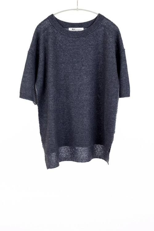Paychi airy cashmere 1/2 sleeve sweater- indigo