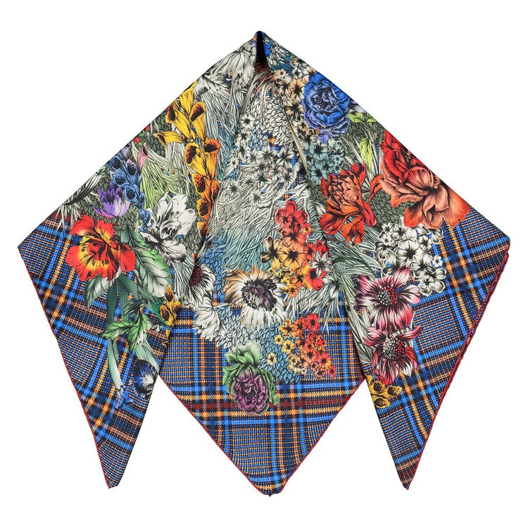 Sarti silk scarf plaid floral design