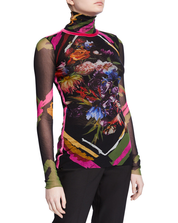 Fuzzi floral collage turtleneck with pink velvet detail