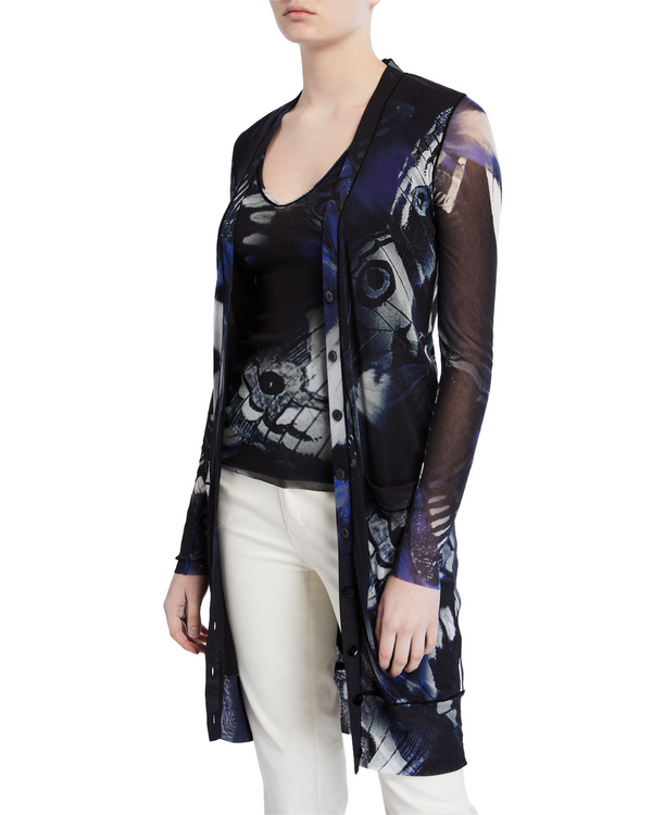 Fuzzi butterfly print long button cardigan