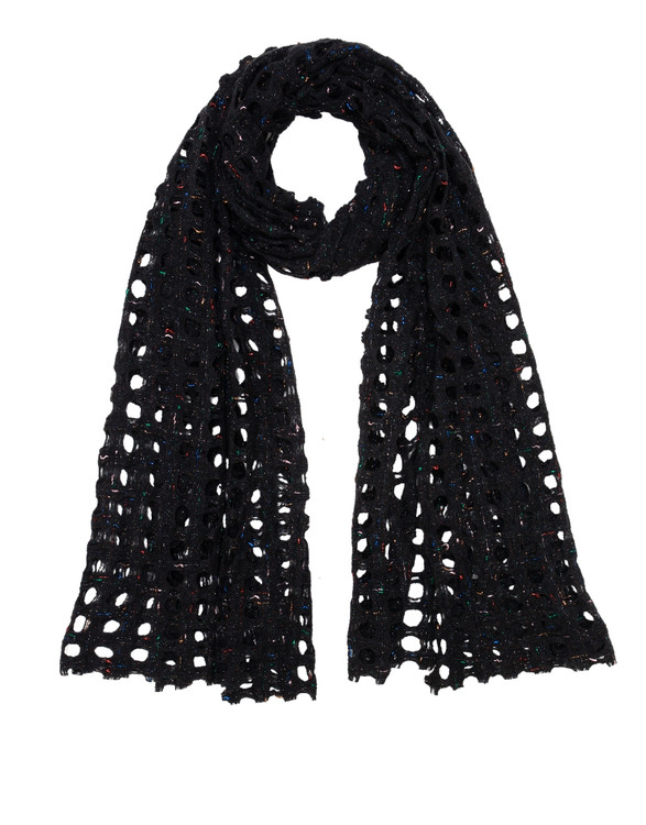 Sarti open weave scarf with lurex detail- deep navy