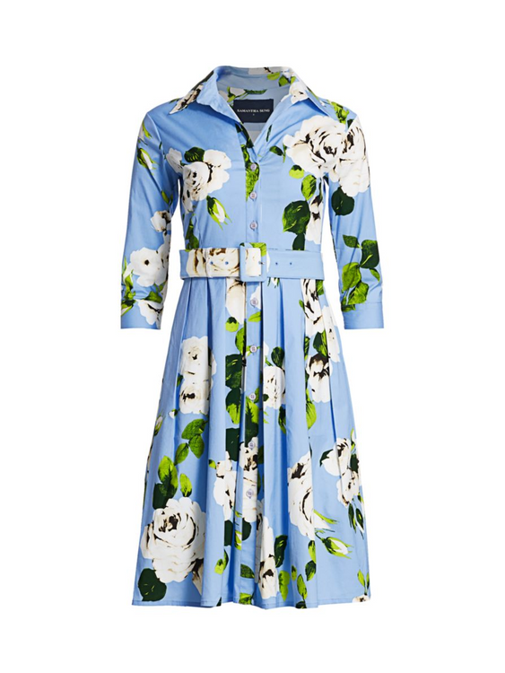 Samantha Sung floral rose dress - soft blue