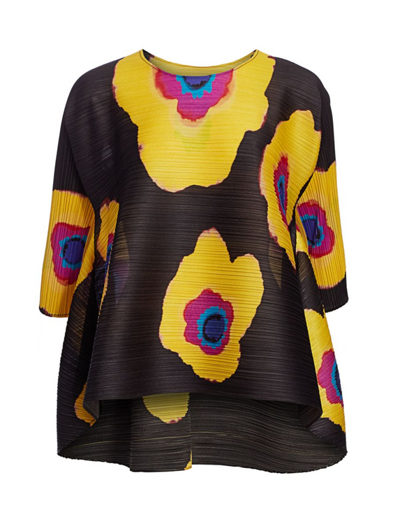 Issey Miyake Pleats floral bloom top - black and gold