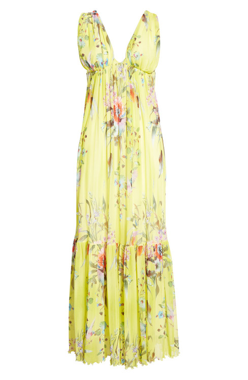 Fuzzi floral bouquet deep v maxi dress