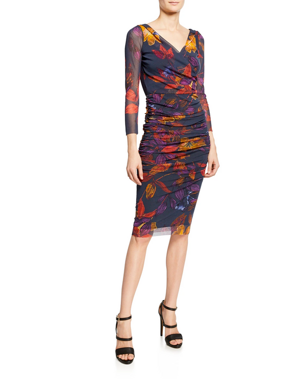 Fuzzi fall leaves sheath dress