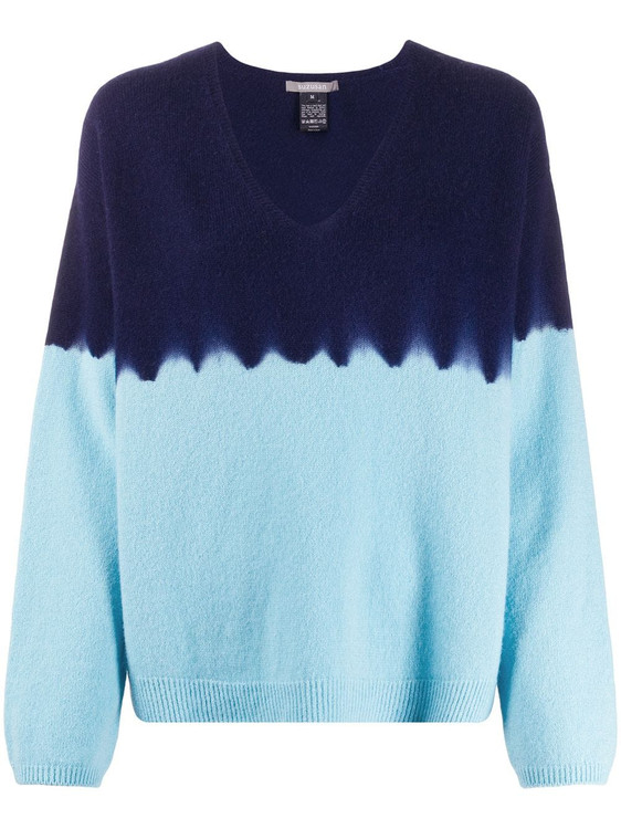 Suzusan v neck color block cashmere sweater