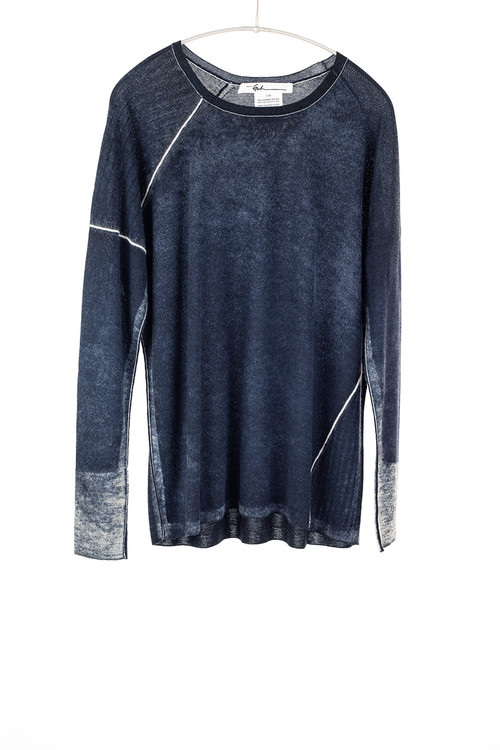 Paychi scoop neck cashmere silk print sweater - midnight
