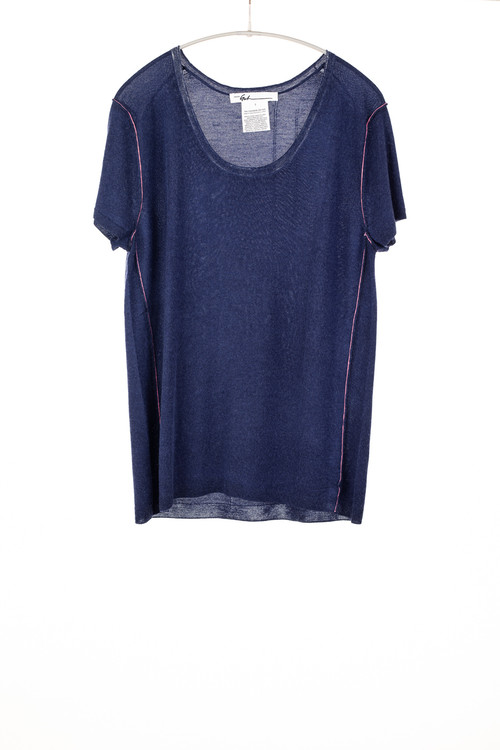 Paychi worsted cashmere relaxed tee - marine blue