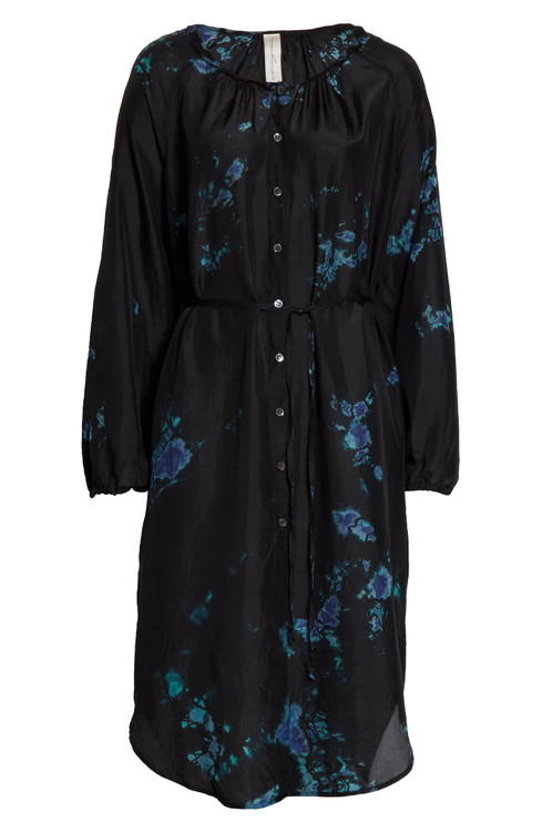 Raquel Allegra silk hand dyed button front poet dress - black sky