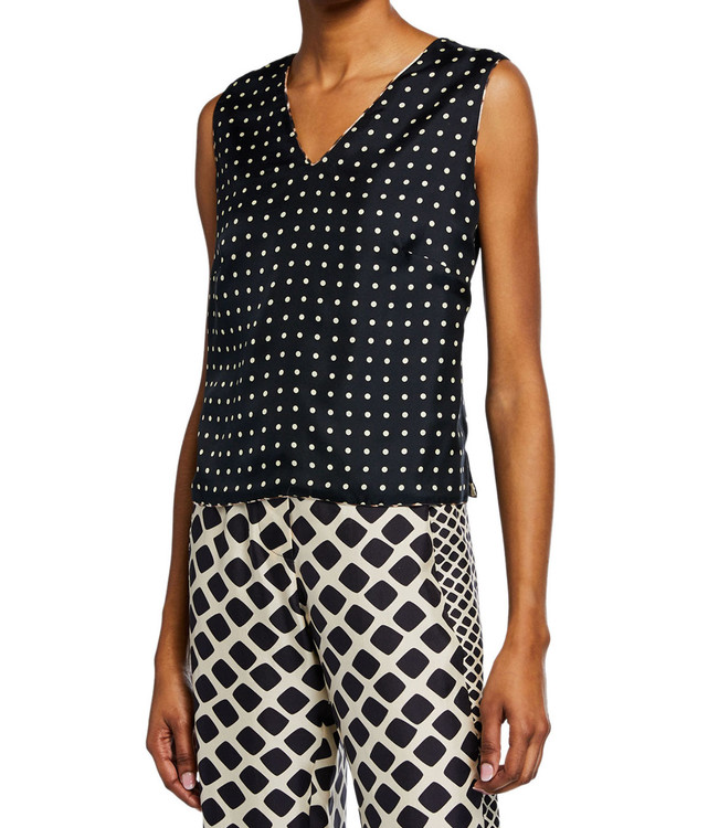 La Prestic Ouiston silk v neck reversable tank - polka dot