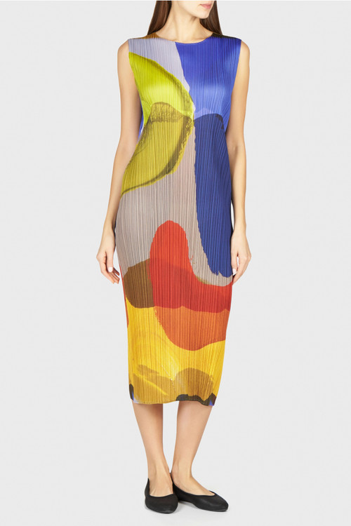 Issey Miyake Pleats watercolors long dress