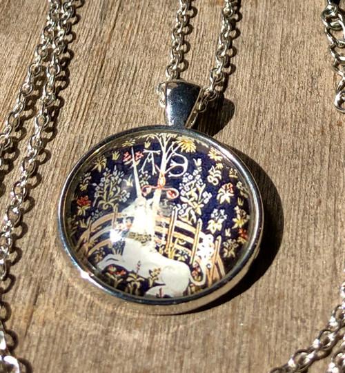 unicorn cage cabochon necklace