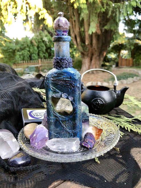 Moon Potion Bottle with Quartz Crystal