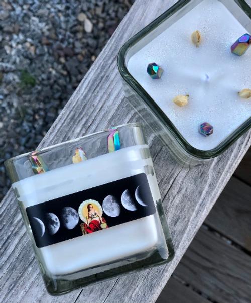 Moon Goddess candle in 10 oz. glass jar