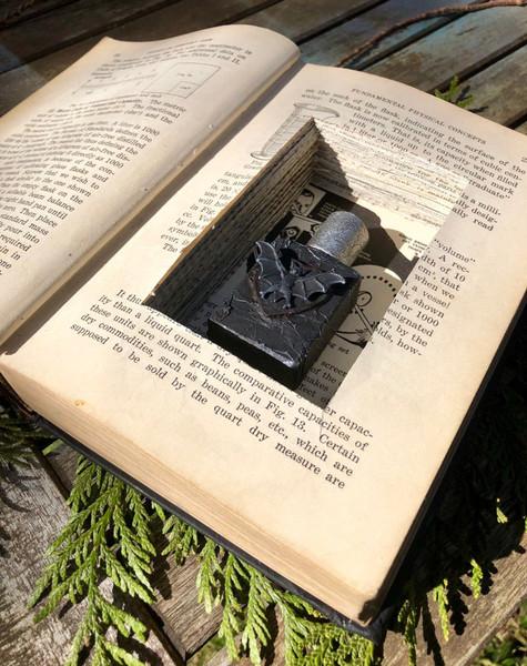 bat potion bottle in carved book safe