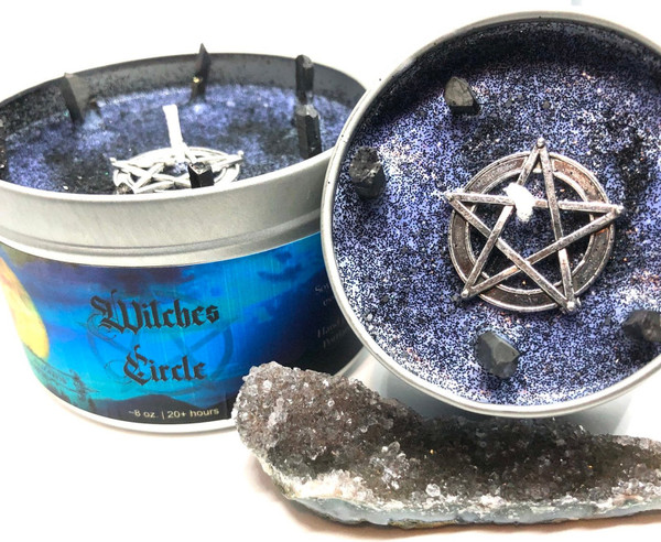 soy candle witch crystals