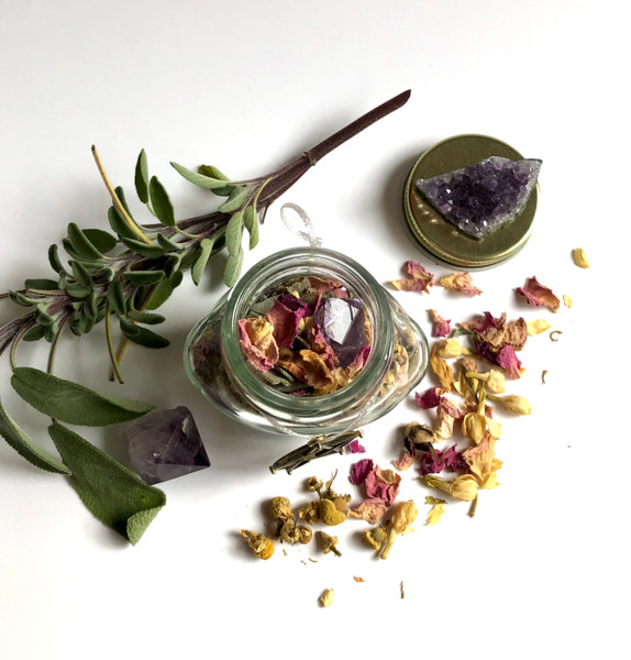 Full moon dried botanicals for ritual