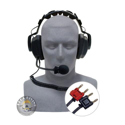 Headset w/Boom Mic & Dual Banana Plugs