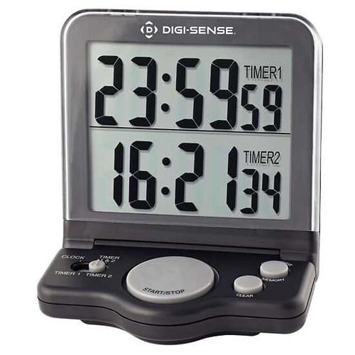 Jumbo-Digit Digital Clock/Timer, Digi-Sense Dual-Display 2-Channel