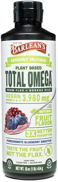 Barleans Seriously Delicious Omega Pomegranate Blueberry Smoothie 16Oz