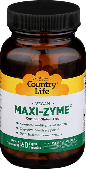 Country Life  Maxi-Zyme Caps 60 Vegetarian Capsules