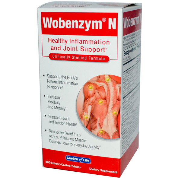 Garden of Life Wobenzym N Joint Health Dietary Supplements,  800 Tablets