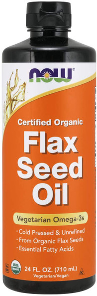 NOW Foods Certified Organic Flax Seed Oil 24 fl oz, Now Foods Flax Oil