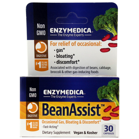 Bean Assist Gas & Bloating Relief - 30 Capsules -Enzymedica
