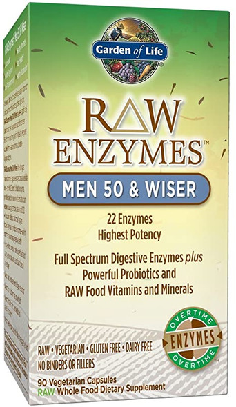 RAW Enzymes Men 50 & Wiser - 90 Vegetarian Capsules by Garden of Life